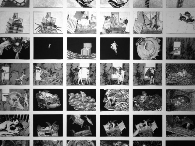 "Stacey Steers, Grid of 54 collages representing the overall narrative of the film ""Phantom Canyon"""