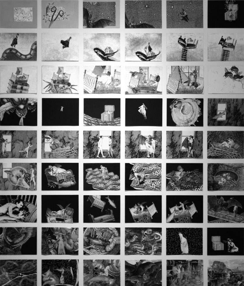 """Grid of 54 collages representing the overall narrative of the film """"Phantom Canyon"""""""