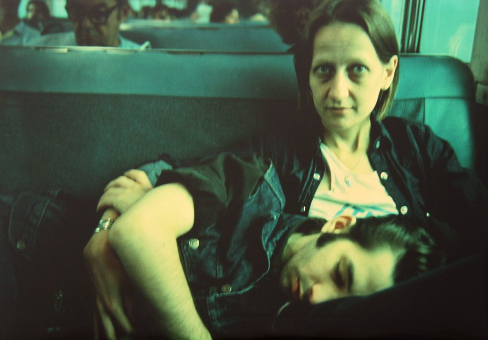 Suzanne and Philippe on the train, Long Island, NY