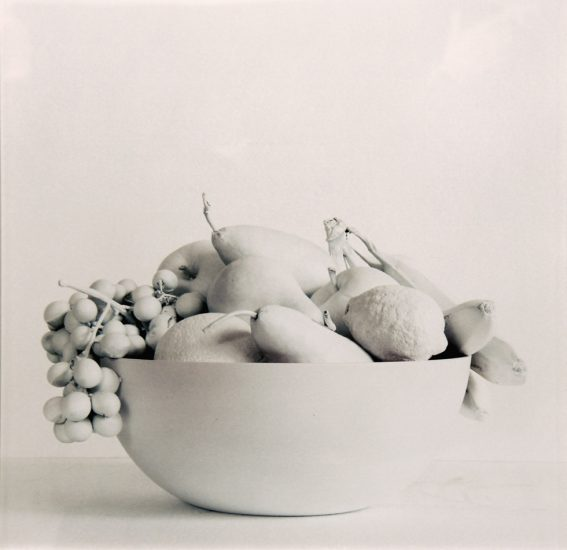 George Perkins, Untitled (Still Life with Fruit, Bowl, and White Spray Paint)