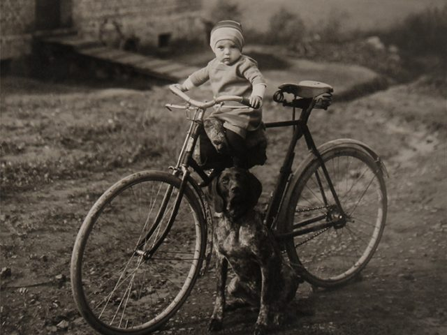 August Sander, Forester's Child, Westerwald [Farm Child on Bicycle]