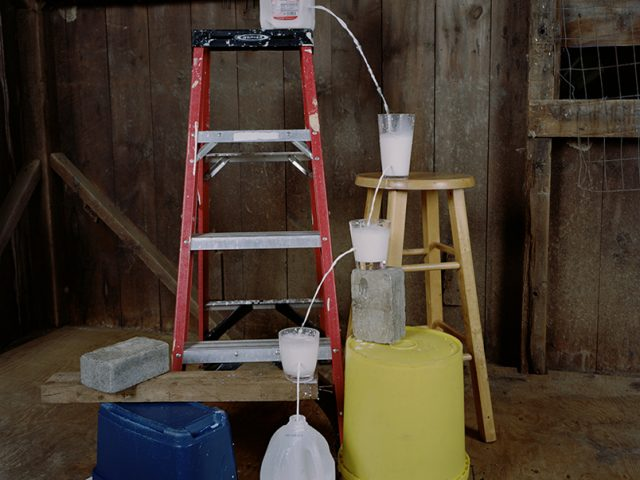 Adam Ekberg, Transferring a gallon of milk from one container to another
