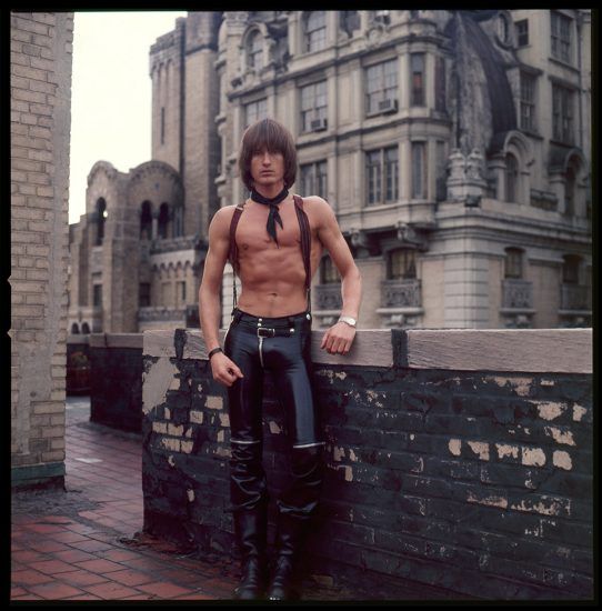 Peter Berlin, Self Portrait on the Roof of the Ansonia (Leather Pants)