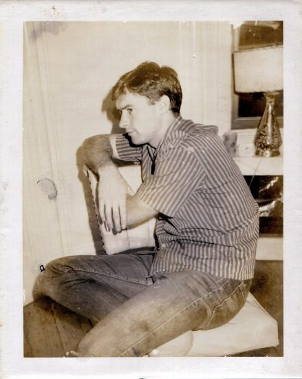 Mark Morrisroe, Seated Man in Striped Shirt, Polaroid