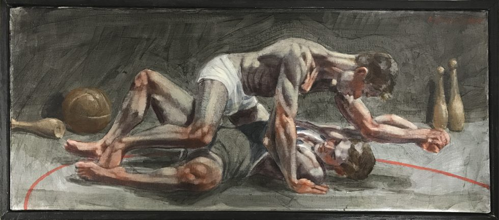 [Bruce Sargeant (1898-1938)] Wrestlers Practicing on the Mat
