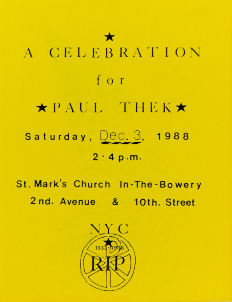 Memorial Flyer (St. Mark's Church-In-The-Bowery)