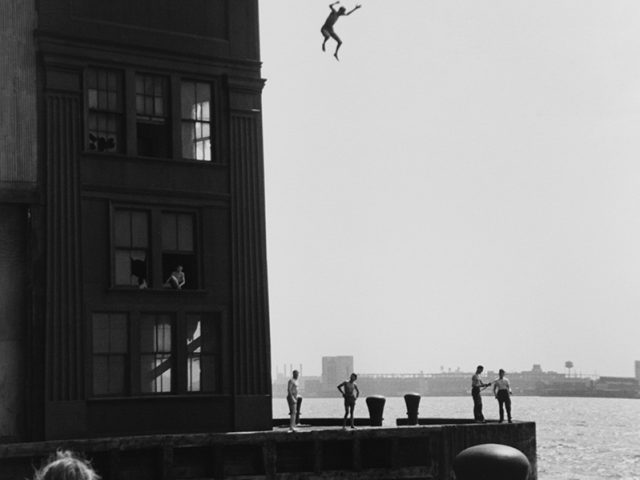 Ruth Orkin, Boy Jumping into the Hudson River, NYC