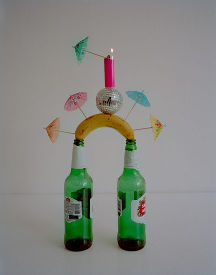 Adam Ekberg, Beer Bottles, Banana, Cocktail Umbrellas, Disco Ball, Bic Lighter