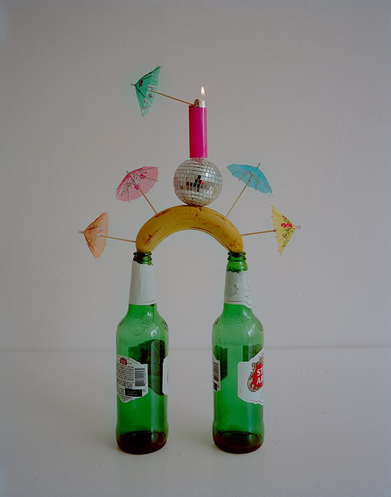 Beer Bottles, Toilet Paper Rolls, Masking Tape, Disco Ball, Bic Lighter and Cocktail Umbrella