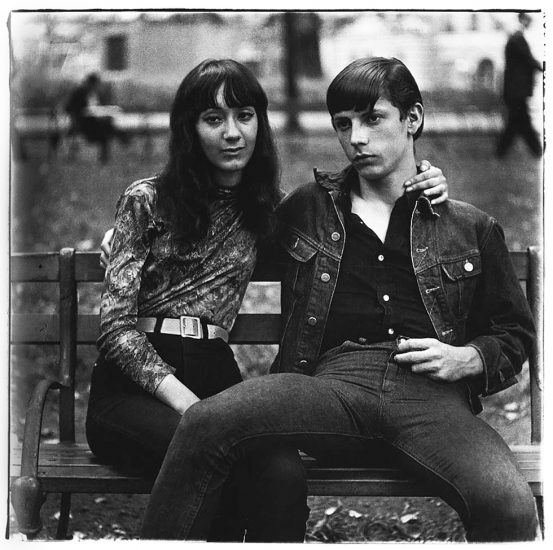 Diane Arbus, Young Couple on a Bench in Washington Square Park, NYC