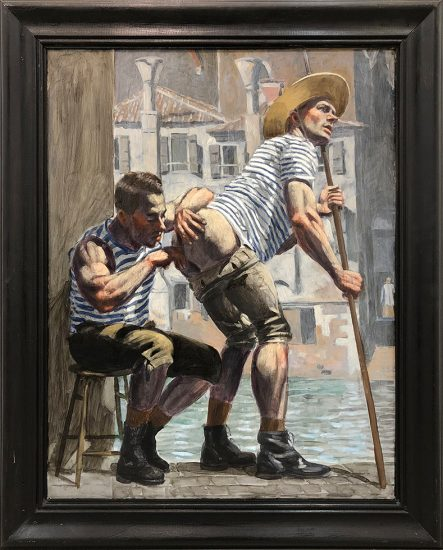 Mark Beard, Bruce Sargeant (1898-1938), Two Gondoliers, One Seated, NSFW