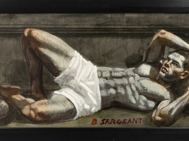 Mark Beard, Bruce Sargeant, Reclining Male with Football Under Foot