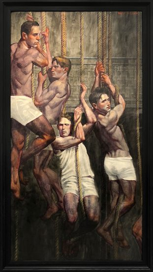 Mark Beard, [Bruce Sargeant (1898-1938)] Four Gymnasts on Ropes Listening to Coach