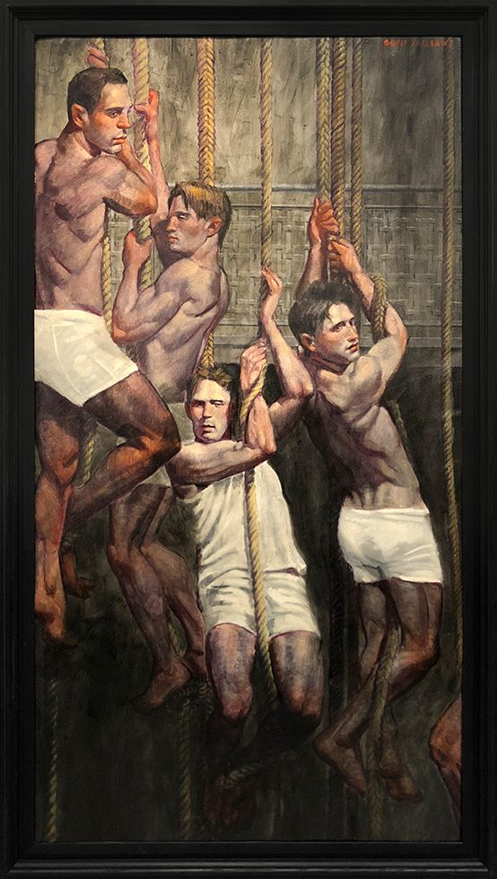[Bruce Sargeant (1898-1938)] Four Gymnasts on Ropes Listening to Coach