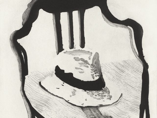 David Hockney, Panama Hat with a Bow Tie on a Chair