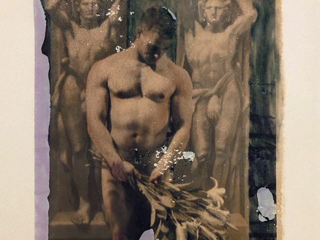 Mark Beard, Untitled (Man with Bouquet of Lilies)