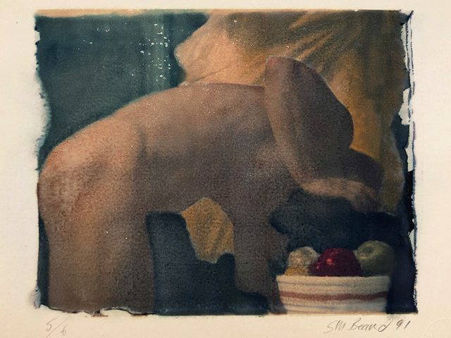 Mark Beard, Untitled (Stooped Man with Bowl of Fruit)