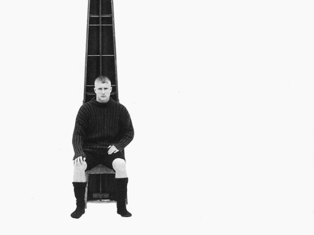 Luke Smalley, Untitled (Man in Black Sitting in Front of Cone I)