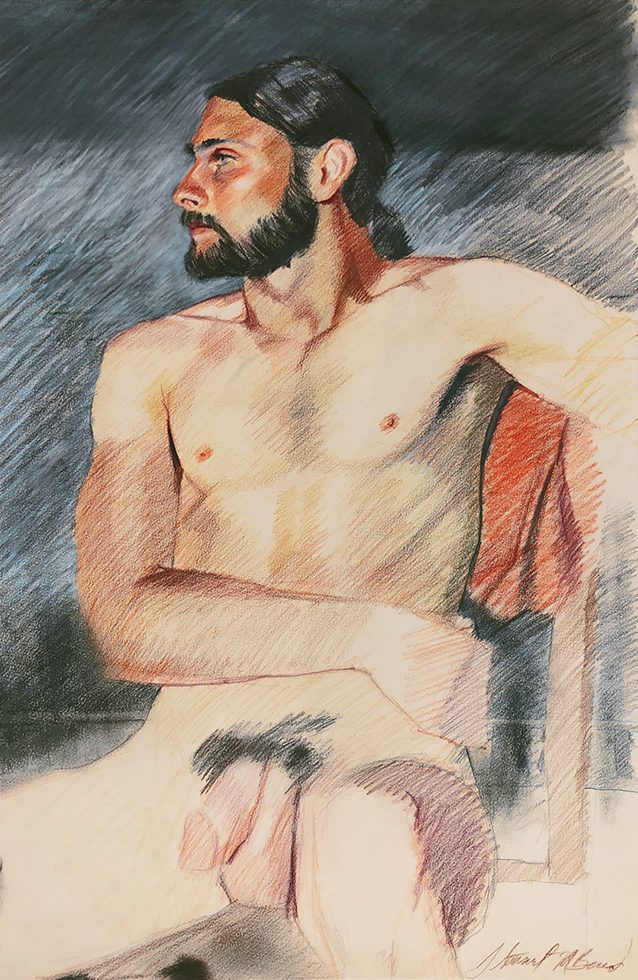 Untitled (Nude Man with Beard and Ponytail)