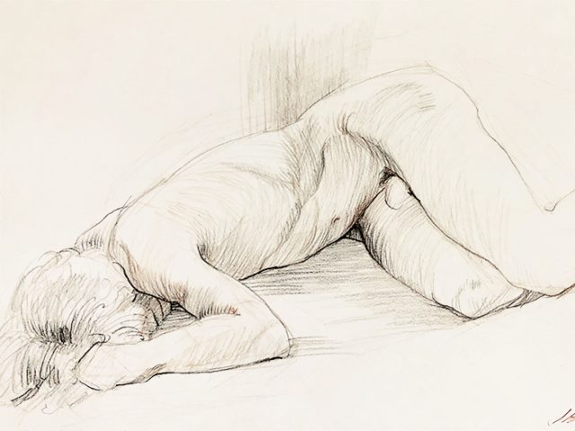 Mark Beard, Untitled (Recumbent Male Nude with Face Hidden)
