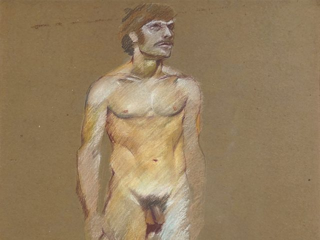 Mark Beard, Untitled (Standing Male Nude with Sideburns)