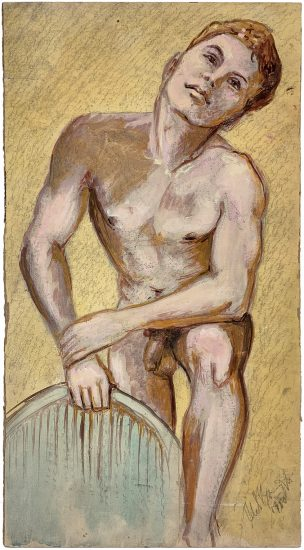 John S. Barrington, Nude with Blue Chair