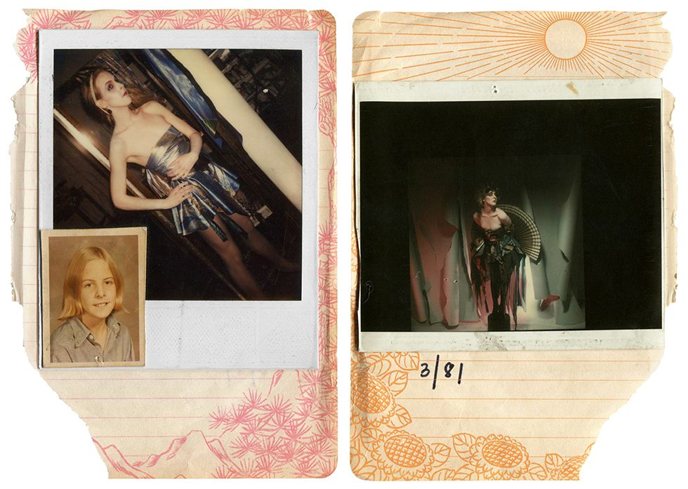 Untitled (Greer in a fashion show with inset school photo from scrapbook)