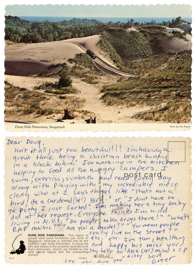 Greer Lankton, Postcard from Greer Lankton to Douglas Furguson