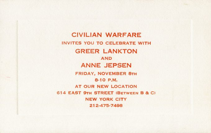 Greer Lankton, Invitation to two-person exhibition at Civilian Warfare