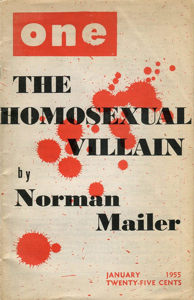 "One Magazine, ""'The Homosexual Villain,' by Norman Mailer"""