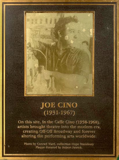 Caffé Cino, Joe Cino Memorial Plaque