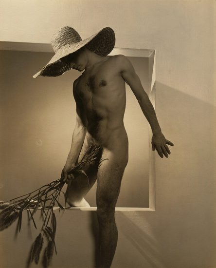 George Platt Lynes, José Pete Martinez with Hat and Flowers
