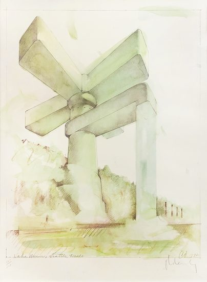 Claes Oldenburg, Proposal for a Cathedral in the Form of a Sink Faucet for Lake Union, Seattle, WA