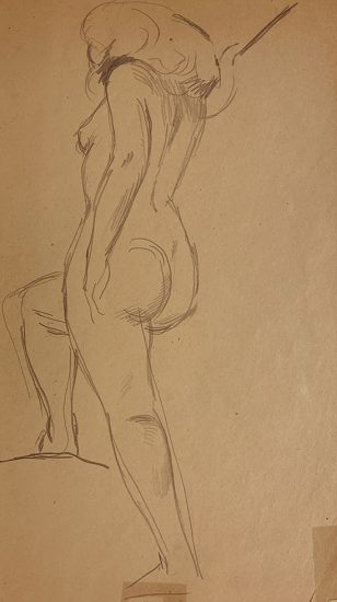Jared French, Untitled (Female Figure) [Nude Woman Stepping Up]