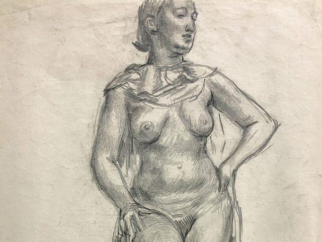 Jared French, Untitled (Female Figure) [Draped Standing Nude]