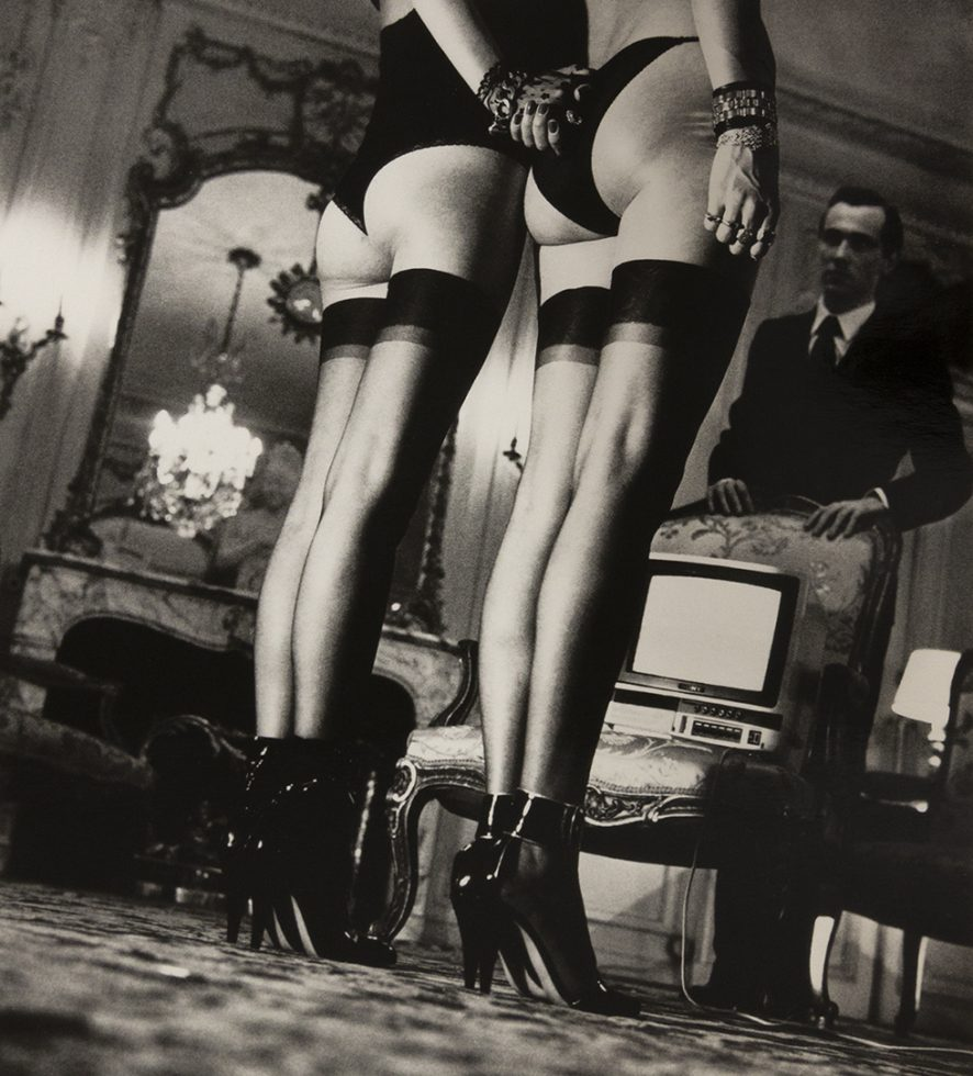 Two Models in Stockings at Attention