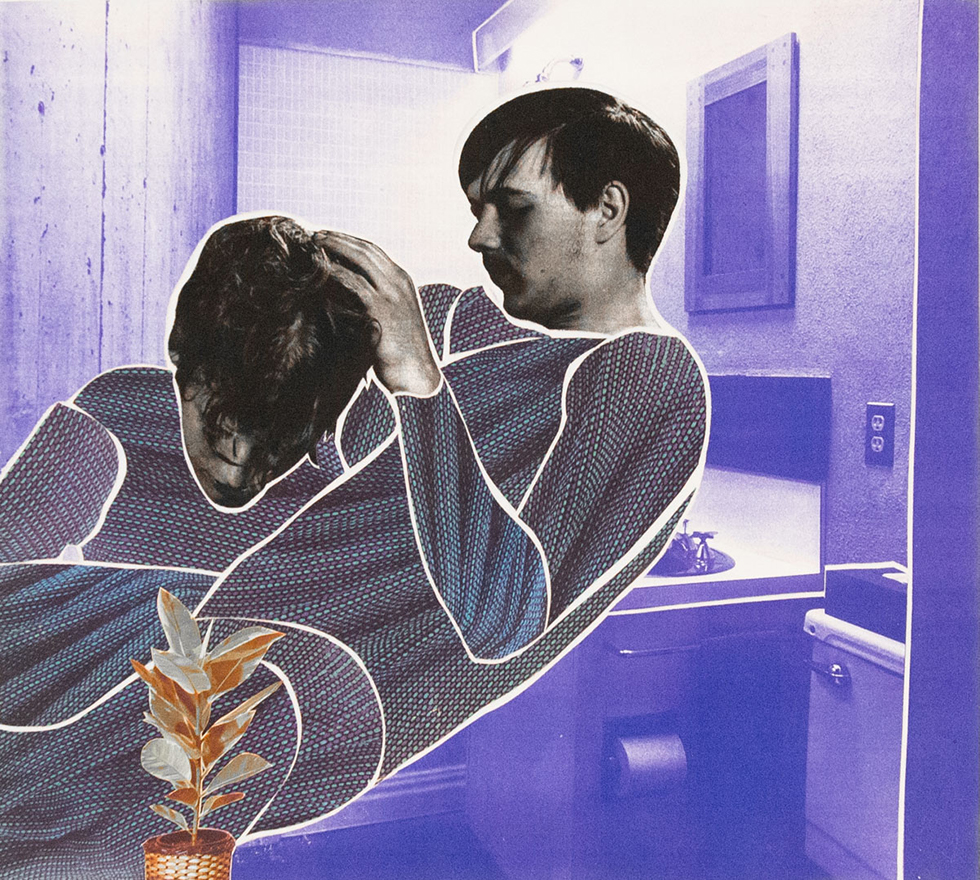 Purple Bathroom with Close Up of Couple and Plant