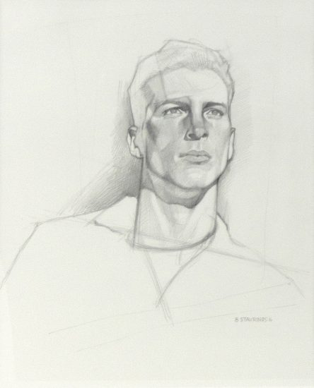 George Stavrinos, Untitled Black and White Graphite Portrait of a Man Looking into the Distance