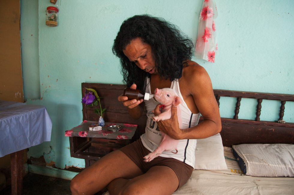 Charito at Home with One-Week-Old Piglet, Camaguey