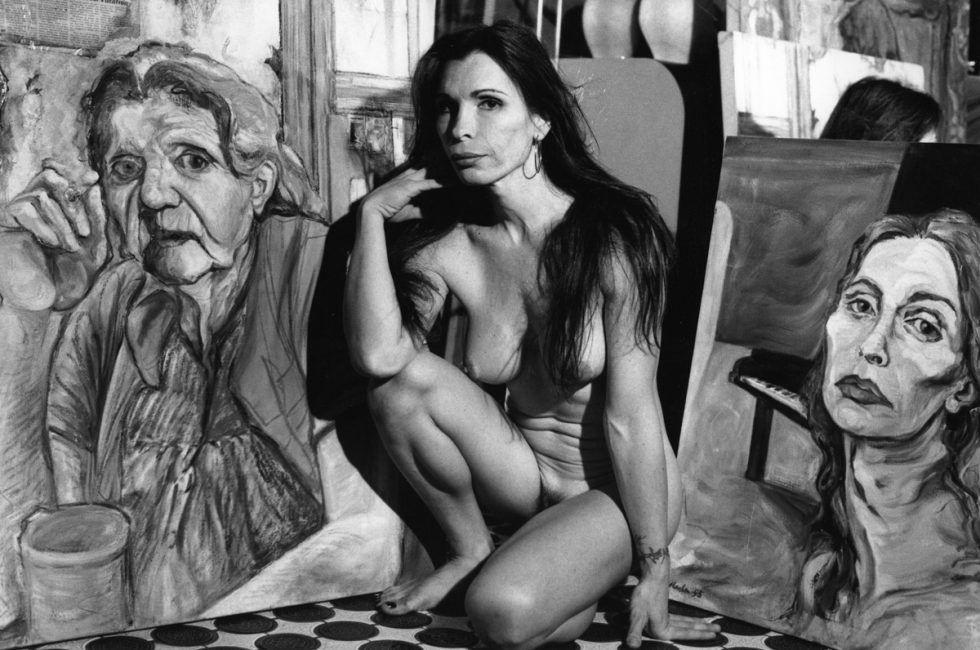 Marla, Artist with Painting of Herself and Grandmother