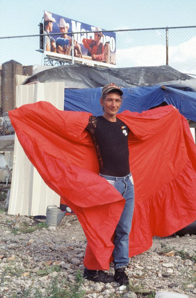 """Sylvia Rivera, Homeless, Modeling the Red Cape She Wore at the """"Gay Pride Parade,"""" New York"""