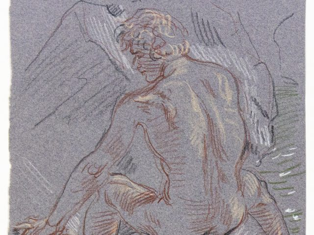Paul Cadmus, Seated Male Nude From Behind