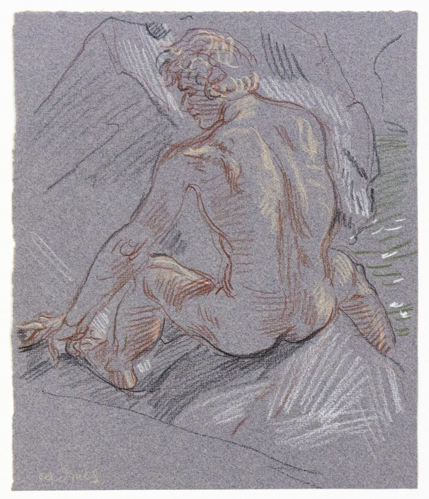 Seated Male Nude From Behind