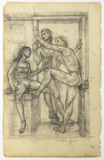 Paul Cadmus, Study for Etching (Study for Waiting for Rehearsal)