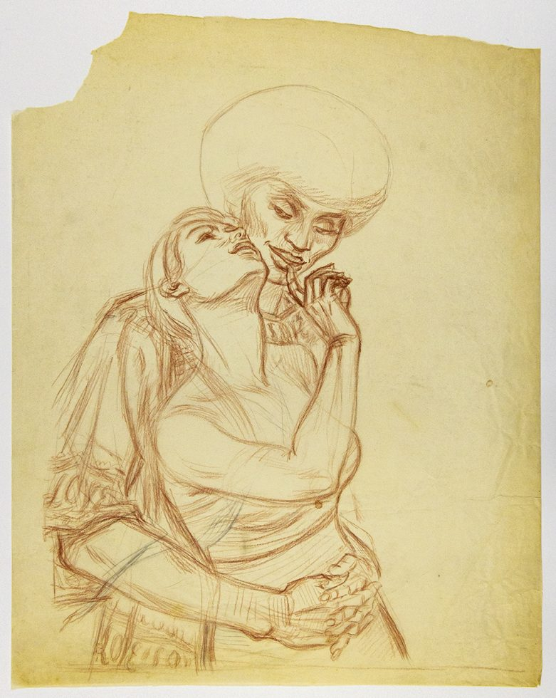 """Two People Embracing (Study for """"Subway Symphony"""")"""