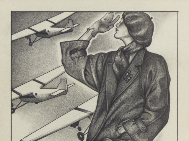 George Stavrinos, Farewell: Woman in Trench Coat with Planes