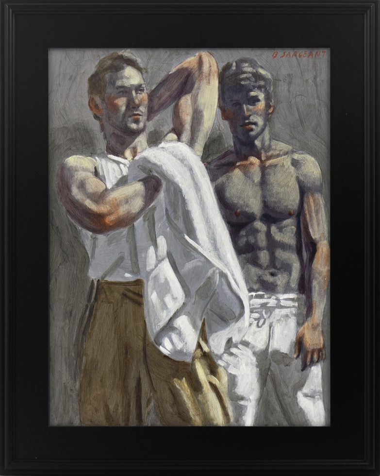 [Bruce Sargeant (1898-1938)] Study of Two Figures (One with White Towel and the Other Wearing Football Pants)
