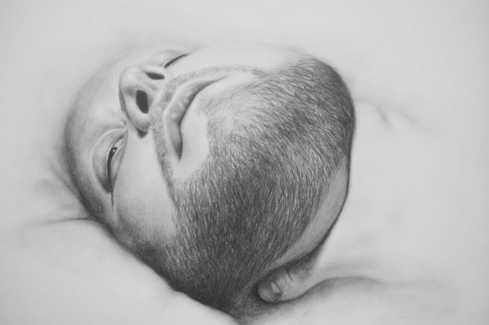 Untitled portrait with hand on throat