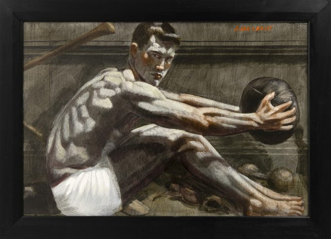 Mark Beard, Bruce Sargeant, Young Athlete Holding a Medicine Ball