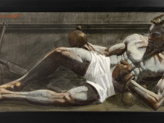 Mark Beard, Bruce Sargeant, Reclining with Boxing Gloves